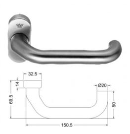 Schuco deurkruk - kleuren: 210918 aluminium / 210919 RVS