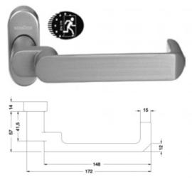 Schuco deurkruk antipaniek -  kleuren: 240164 aluminium / 240165 zwart / 240166 wit 9010 / 240167 wit 9016 / 240191 RVS