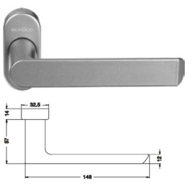 Schuco deurkruk -  kleuren: 240152 aluminium  / 240153  zwart 9005 / 240154 wit 9010 / 240155 wit 9016 / 240168 RVS