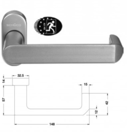 Schuco deurkruk antipaniek - kleuren:  240160 aluminium / 240161 zwart 9005 / 240162 wit 9010 / 240163 wit 9016 / 240186  RVS