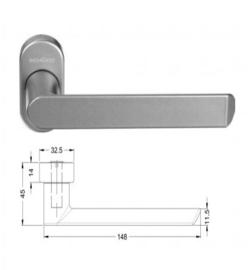 Schuco vlakke rolluik / screen deurkruk -  kleuren: 240729 aluminium / 240730 zwart 9005 / 240731 wit 9010 / 240732 wit 9016