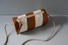 CYLINDER - brown & off-white leather