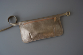 HIP POUCH - gold leather