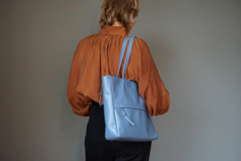 tote bag - dusty blue leather