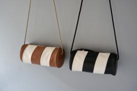 cylinder bag - brown & off-white