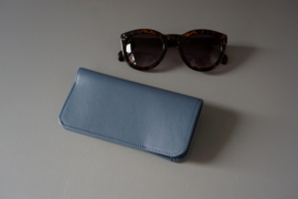 MINIMAL sunglasses cover - dusty blue leather