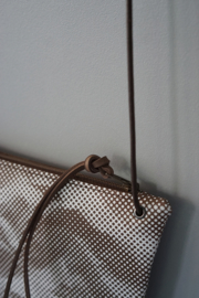 FLAT purse - matte brown printed leather