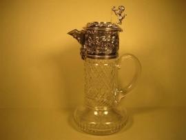Zilveren Kristallen Wijn Schenkkaraft ca.1960