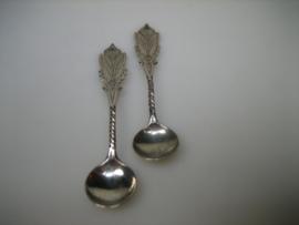 Zilveren handgemaakt Mostert lepeltje van F.Plantinga 1883-1890