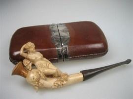 Antieke Meerschuimpijp met Lederen Etui ca.1806-1890