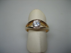 Double Herenring met grote witte spinel steen occasion