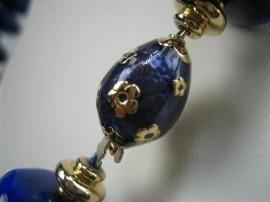 Lapis-Lazuli collier met gouden 14krt. tussen stukken