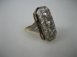 Briljant Ring wit/goudgeel met o.91 crt. Briljanten ca. 1925 Art-Deco