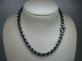 Zilveren Jasseron collier geoxideerd 9,5 mm 46  cm en geheel nieuw