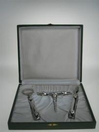 Zilver 3 delig exclusief oude wijnopener set uit de jaren 1950
