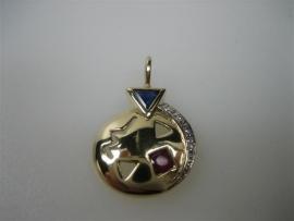 Gouden 14krt. hanger met diamant robijn en blauw saffier