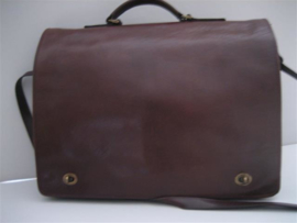 Lederen Heren Schoudertas Roodbruin business tas ca.1960