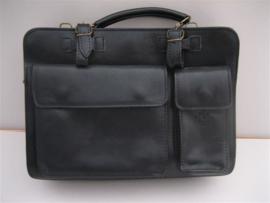 Lederen zwarte damestas ook voor mobiel telefoon occasion ca.1975