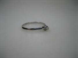 Witgouden 14 krt. Briljant ring 0.03crt. vvs/tw Nieuw