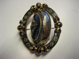 Antieke gouden 14krt. Edelsteen hanger broche met briljant en diamanten