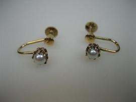 Antieke Gouden 14krt. schroef oorbellen goud met echte grijze parels
