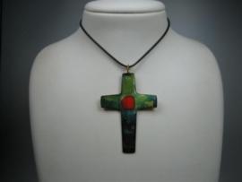 Brons oud Latijnse kruis Geëmailleerd