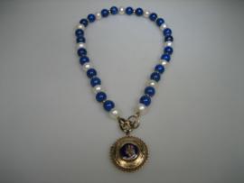 Antiek Parel Collier met Lapis Lazuli en 14 krt. Gouden Hanger ca.1928