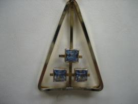 Doublé collier met moderne hanger gezet met 3 blauwe spinellen ca.1954