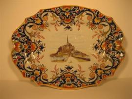 Wandbord Polychroom Glazuur, Mont Saint Michel