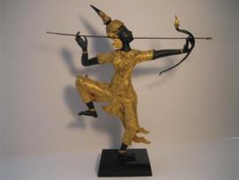 Bronzen beeld uit Thailand figuur met slang - tweede helft 19e eeuw