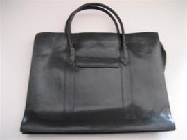 Lederen zwarte damestas met 1 grootvak occasion ca.1980