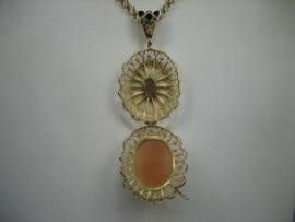 Antieke Gouden 14krt. Foto hanger met Camee en Blauwsaffier ca.1830