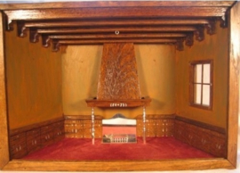 Miniatuur Eikenhouten woonkamer geheel handwerk ca.1928