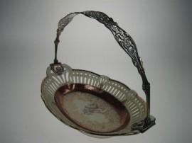 Bonbon-Koekschaal oud Porselein Limoges met Zilver Hengsel ca.1935