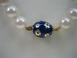 Parel collier met Lapis Lazuli en 8 gouden tussen stukken ca.1935