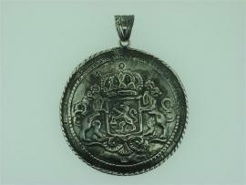 Antieke Zilver hanger met Nederlands wapen de Leeuw