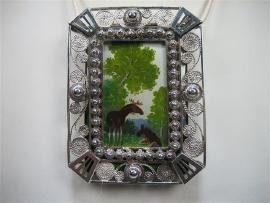 Antieke Zilveren Schilderij Hanger Geheel Handwerk