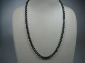 Zilveren Jasseron collier geoxideerd 60 cm nieuw