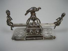 Antiek Zilver Miniatuur kinderen op de wip-wap 1864 t/m 1900
