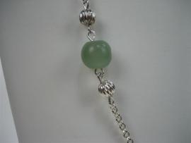 Zilver collier Jasseron met antiek Jade