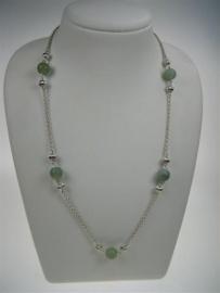 Zilver oud collier Jasseron met antiek Jade