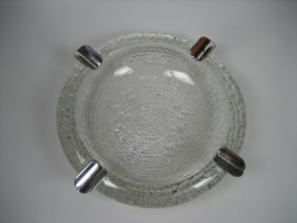 Boheemse klassieke/moderne Kristal asbak met 4 zilveren houders ca.1952