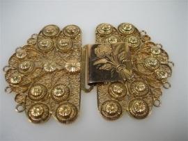 Antieke Zeeuwse Gouden Kraalhaak-Schortenhaak, of Klaphaak ca.1890