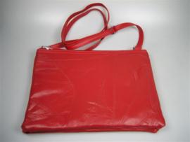 Lederen dames schoudertas met portemonnee en draagriem nieuw