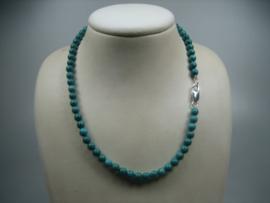 Turquoise collier met zilveren Cartier sluiting