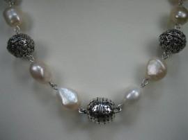 Parel collier met zilveren magneetslot nieuw collier