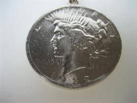 Zilveren Peace one Dollar Munt als hanger, anno 1922