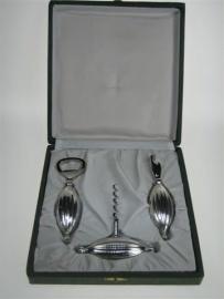 Zilveren Handgemaakte Wijn Opener Set ca.1950