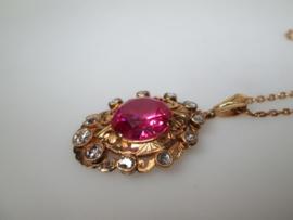 Antieke Gouden 21,6 krt. Robijn Hanger ca. 1906
