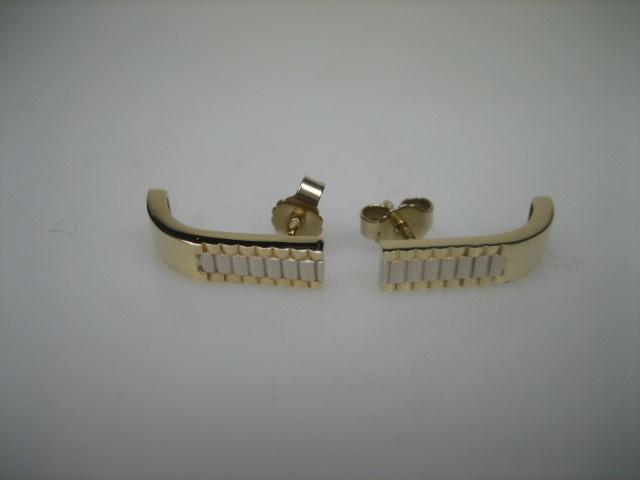 Gouden 14krt. moderne Oorstekers Rolex model